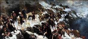 Переход русских войск через Альпы в 1799г. Холст, масло. А.Н.Попов, 1904г.